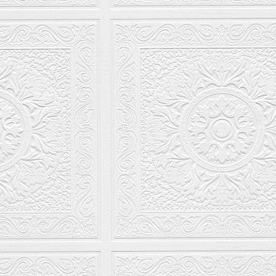 Renaissance Ceiling Tile Raised White Textured Paintable Square Wallpaper - all4wallswall-paper