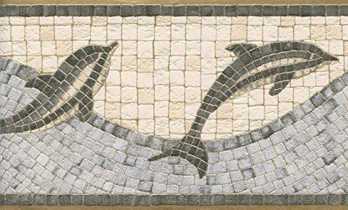 Dolphin Mosaic Tile Wave Wallpaper Border - all4wallswall-paper