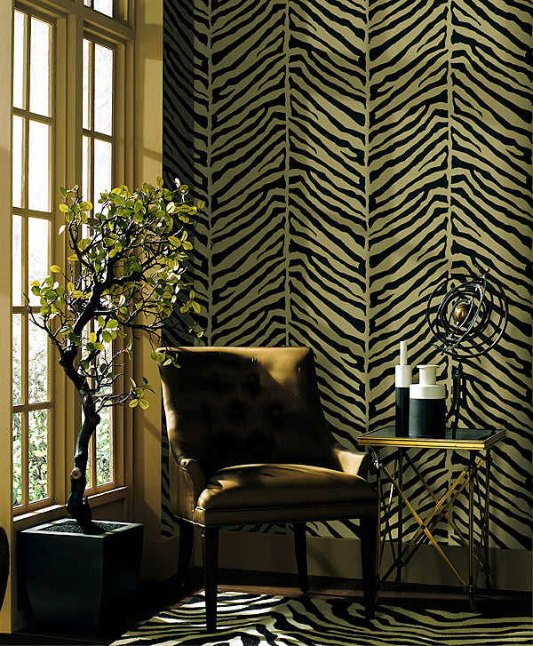 Modern Raised Brown on Herringbone Brown Zebra Wallpaper - all4wallswall-paper