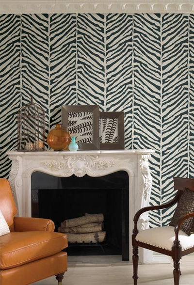 Modern Raised Brown on Herringbone Blue Tailored Zebra Echo Design Wallpaper - all4wallswall-paper