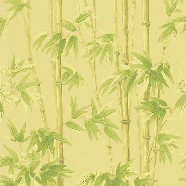 Bamboo Stalks Brown & Green on Golden Background Unpasted Wallpaper