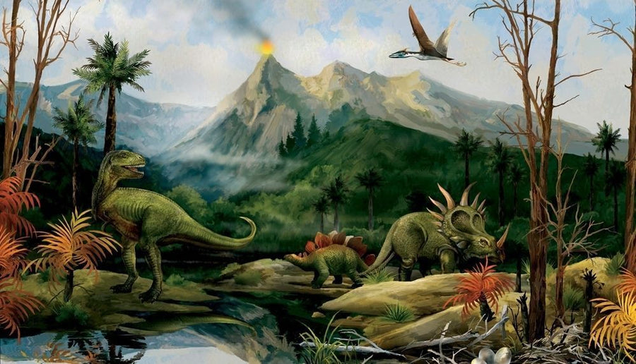 Land of the Dinosaurs Candice Olson 10.5' x 6' on Sure Strip Wallpaper Wall Mural - all4wallswall-paper