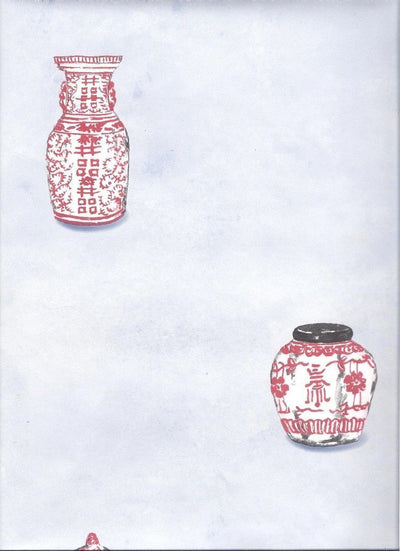 Red Oriental Vases - Asian Dotted On Light Blue Wallpaper - all4wallswall-paper
