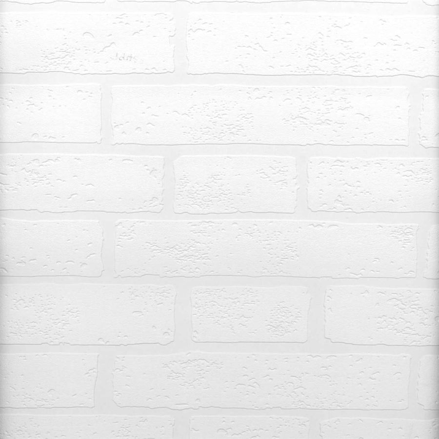 Raised Brick White Textured Paintable Prepasted Wallpaper - all4wallswall-paper