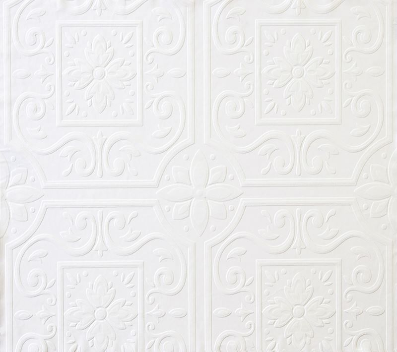 Faux Large Tin Ceiling Tile Textured Puffy Paintable Wallpaper - all4wallswall-paper
