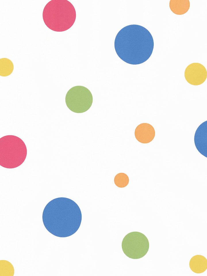 Multi Colored Polka Dots on White Wallpaper - all4wallswall-paper