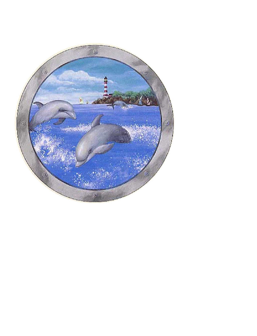 A Vision of Dolphins out the Porthole Prepasted Wallpaper Mural - all4wallswall-paper