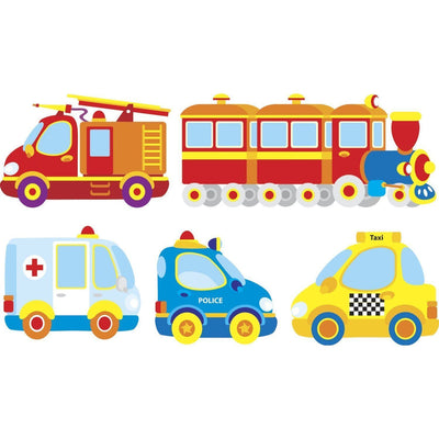 Large Colorful Vehicle Transportation Police Car, Ambulance, Firetruck, Taxi, Train, Precut Prepasted Mini Mural - all4wallswall-paper