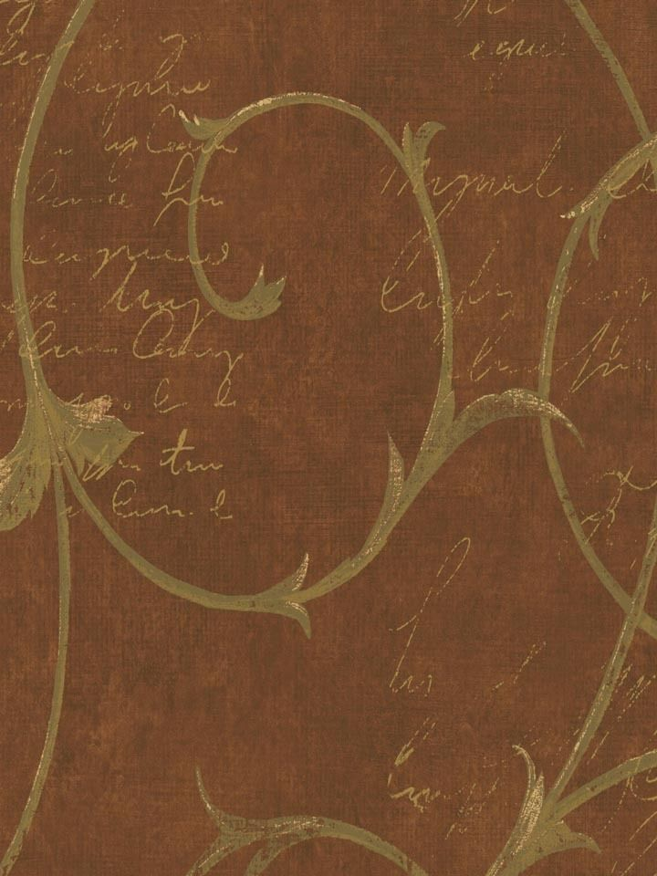 Formal Scroll on Red Faux Linen with Illegible Writing Wallpaper