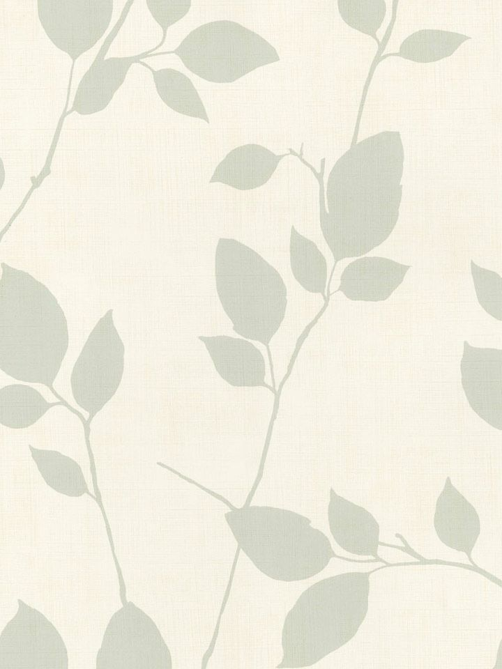Modern Grey - Blue Leaves and Branches on Off White Wallpaper - all4wallswall-paper
