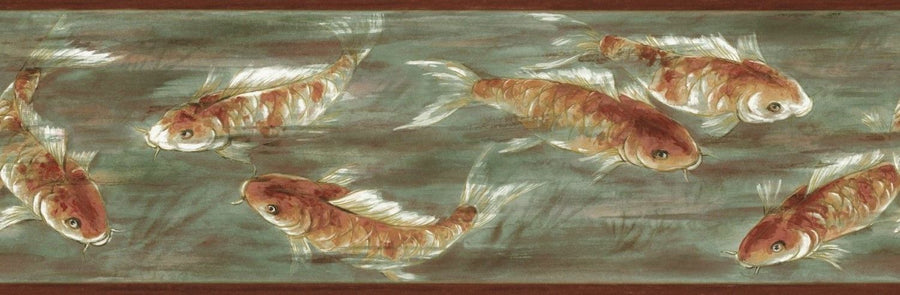 Asian Koi Fish in Green and Rust Water Background Wallpaper Border - all4wallswall-paper