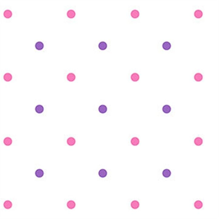 Pretty in Pink and Girly Purple Polka Dots on White Wallpaper - all4wallswall-paper