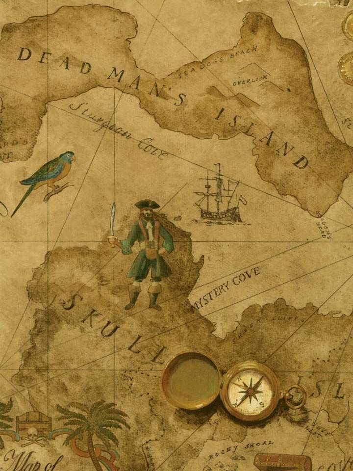 Pirate - Pirates Treasure Chest Map on Golden Brown on Sure Strip Wallpaper - all4wallswall-paper