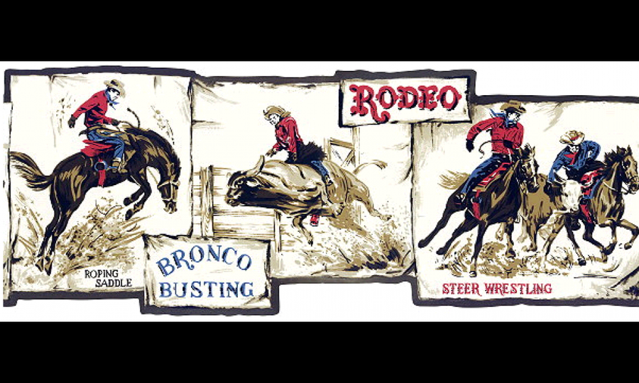 Western Cowboy Roping Riding Bronco Busting Laser Cut Wallpaper Border - all4wallswall-paper