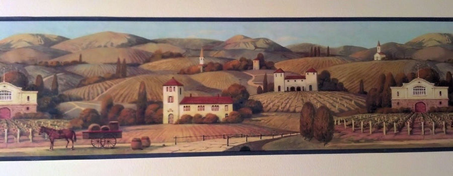Rolling Hills of Wine Country in Tuscany Wallpaper Border - all4wallswall-paper
