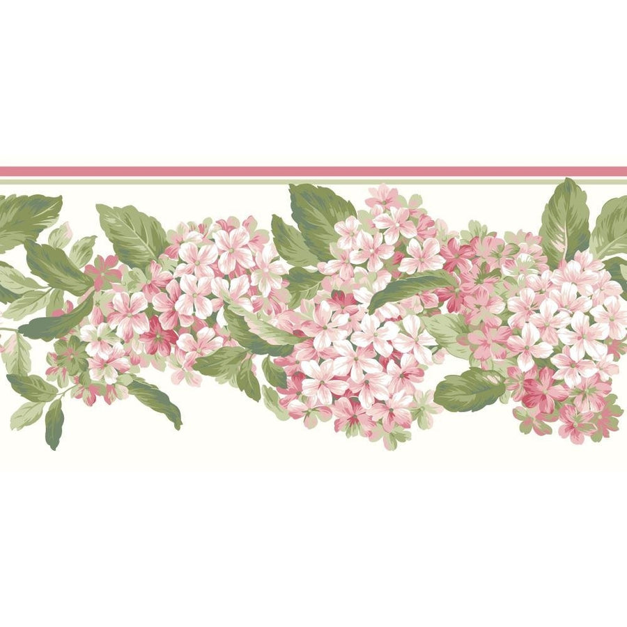 Coral Hydrangea Floral on Soft White Laser Cut Wallpaper Border - all4wallswall-paper