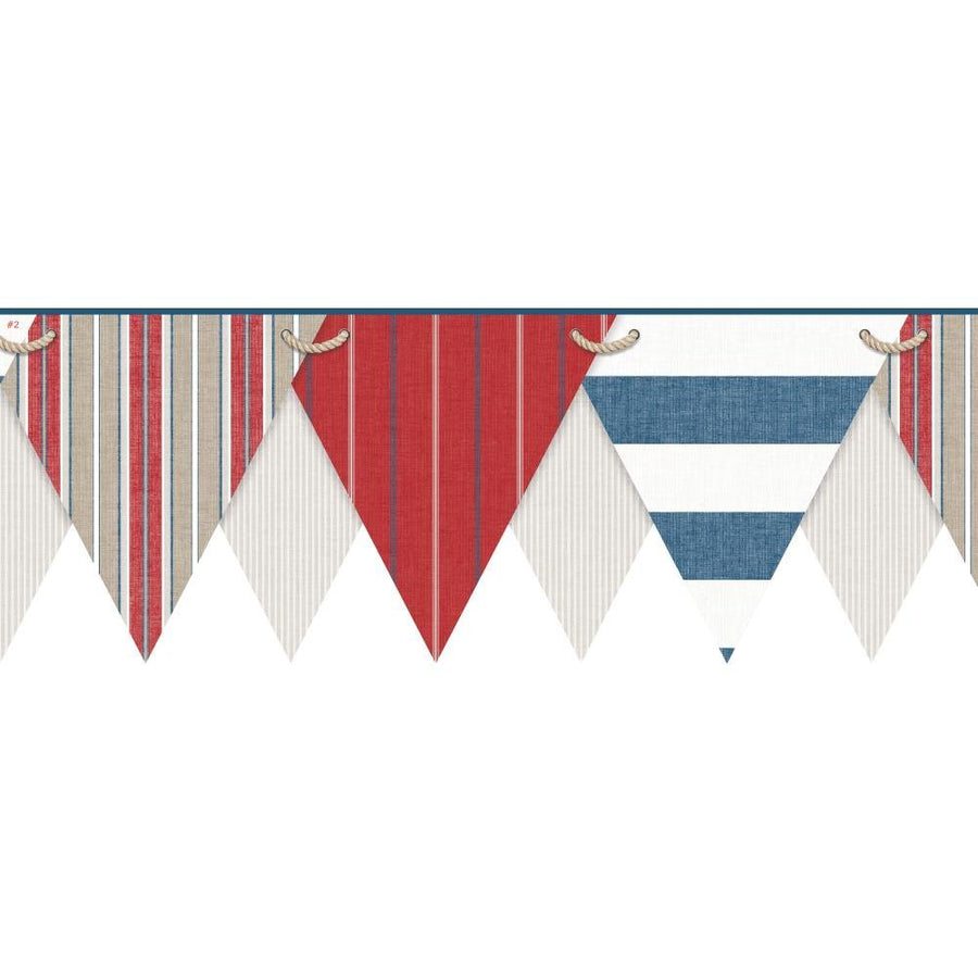 Nautical - Beach Pennant - Flags Laser Cut on Sure Strip Wallpaper Border - all4wallswall-paper