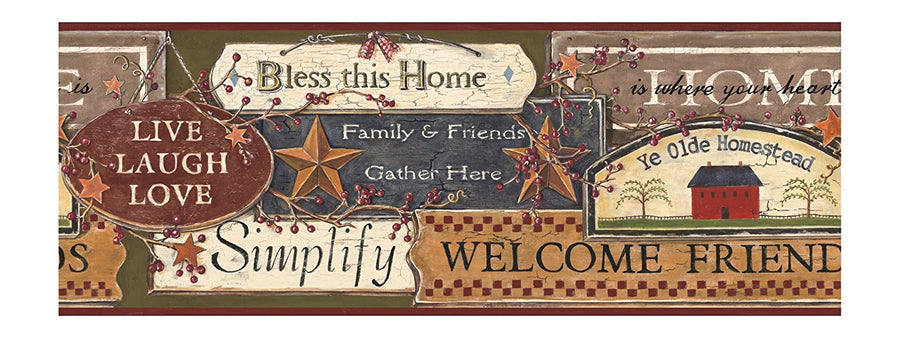 Country Kitchen Signs on Sure Strip Wallpaper Border