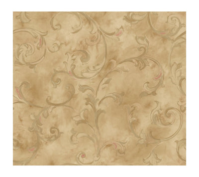 Fresco Scroll Golden Sheen Wallpaper - all4wallswall-paper
