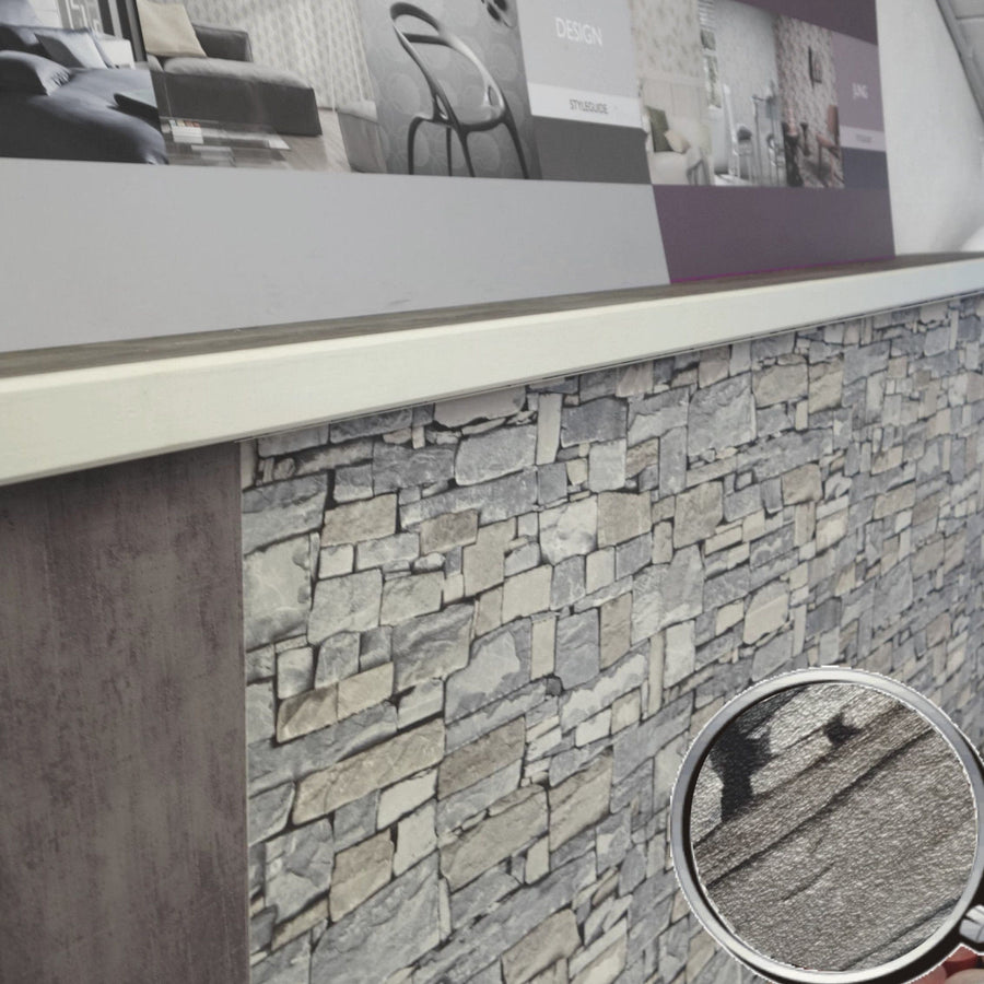 3D Multiple Shades of Gray Stacked Stone Paste the Wall Wallpaper