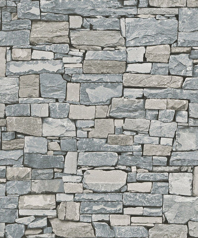 3D Multiple Shades of Gray Stacked Stone Paste the Wall Wallpaper - all4wallswall-paper
