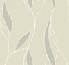 Modern Trailing Leaf in Champagne and Taupe on Satin Wallpaper - all4wallswall-paper