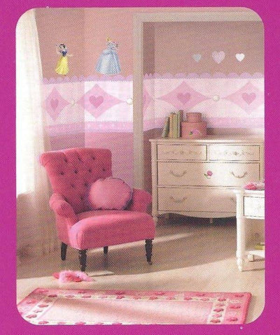 "Large 17.25"" Accent Pink and Purple Princess Prepasted Wallpaper Border - all4wallswall-paper"