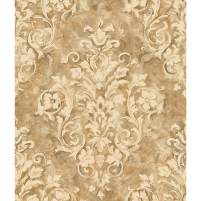 Formal Handpainted Oversized Golden Damask on Sure Strip Wallpaper - all4wallswall-paper