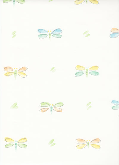 Pastel Dragonflies on White Wallpaper - all4wallswall-paper