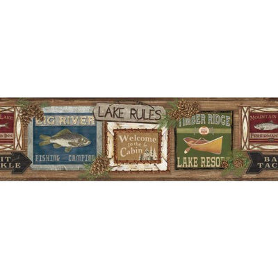 Lake, Cabin, Fishing, Lodge Signs on Sure Strip Wallpaper Border - all4wallswall-paper
