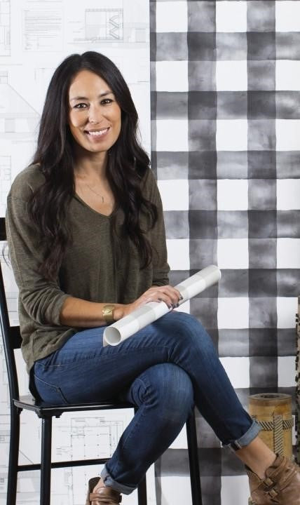 Magnolia Home Joanna Gaines Large Watercolor Black & White Check on Sure Strip Wallpaper - all4wallswall-paper