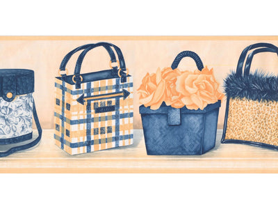 Ladies Purses - Purse in Yellows and Blues Wallpaper Border - all4wallswall-paper
