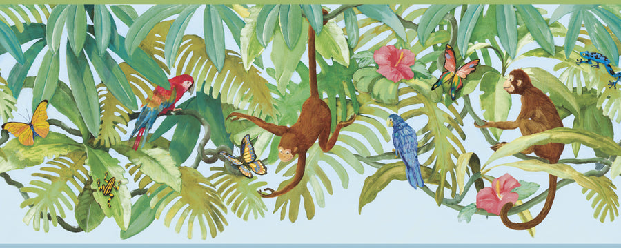 "Monkey in the Jungle Treetops on Blue Sure Strip 18"" Wide Wallpaper Border - all4wallswall-paper"