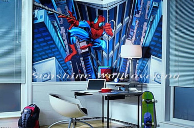 Spiderman 10.5 ft Wide x 6 ft High Mural on Sure Strip Wallpaper - all4wallswall-paper