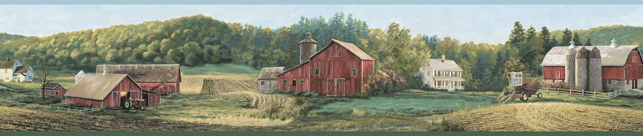 Green Acre's Farm Livin' Is the Life for Me Summer Wallpaper Border - all4wallswall-paper