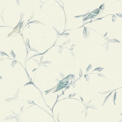 Blue & Cream Birds on Blue Branches on Sure Strip Wallpaper - all4wallswall-paper
