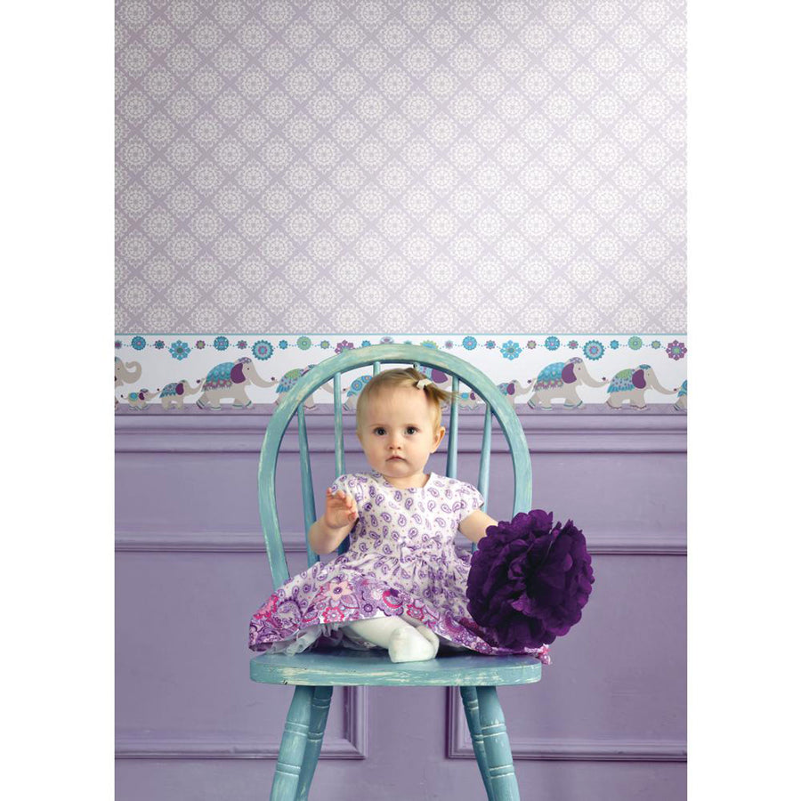 Follow the Leader India Elephant Family Purple & Teal on Sure Strip Wallpaper Border - all4wallswall-paper