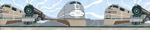 Contemporary Multiple Train Engines in Art Deco Style Wallpaper Border - all4wallswall-paper