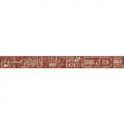 Country Keepsakes Red and Beige Laundry Chalkboard on Sure Strip Wallpaper Border - all4wallswall-paper