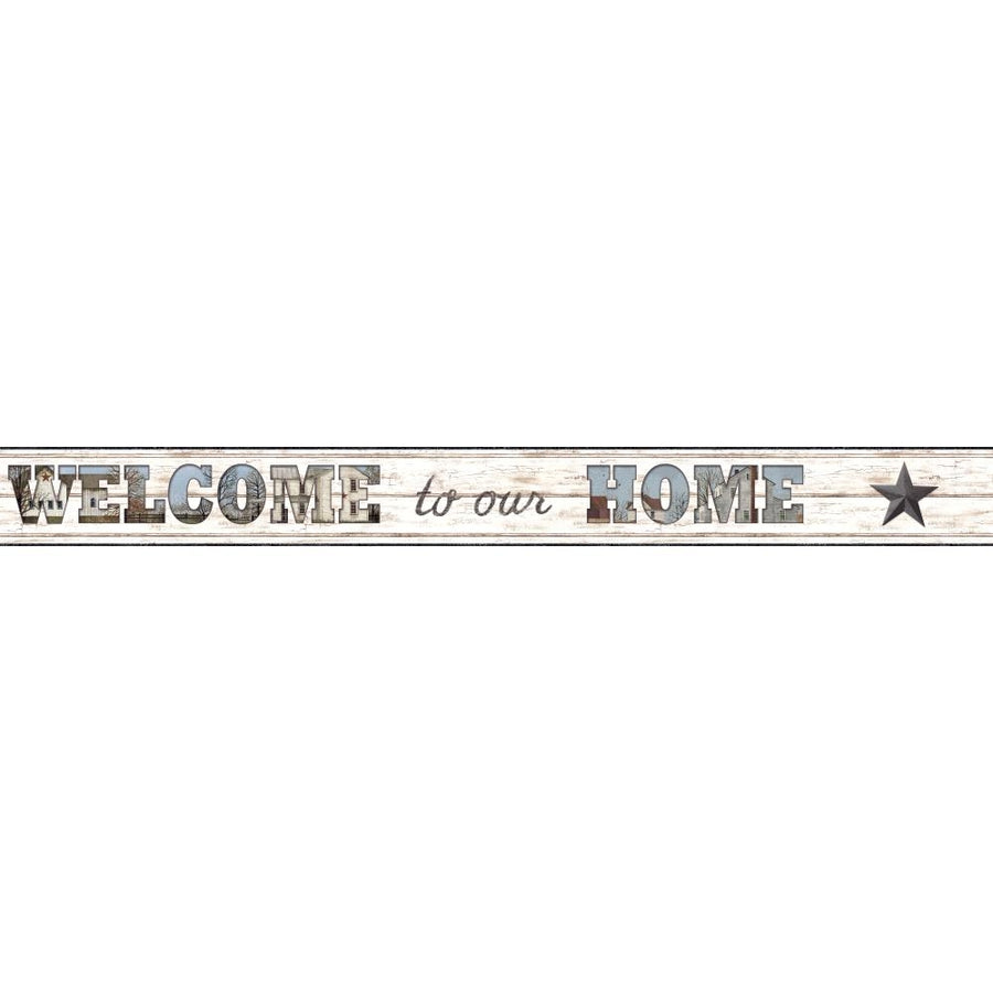 Country Welcome Home on White Beadboard on Sure Strip Wallpaper Border - all4wallswall-paper