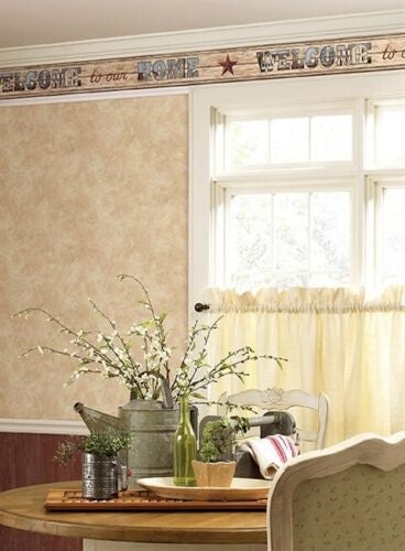 Country Welcome Home on Beige Beadboard on Sure Strip Wallpaper Border - all4wallswall-paper