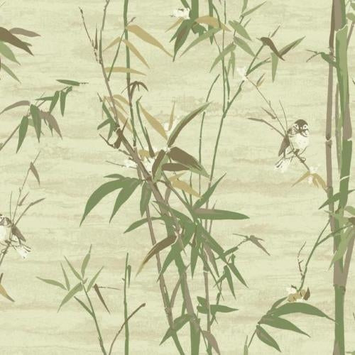 Bamboo Stalks Brown & Green with Birds on Faux Unpasted Wallpaper - all4wallswall-paper