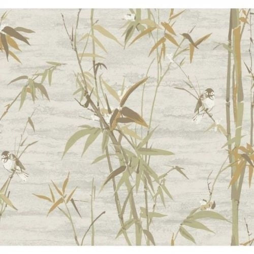 Bamboo Stalks Gold, Green, Brown with Birds on Satin Background Unpasted Wallpaper - all4wallswall-paper