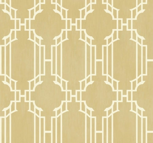 Golden Beige and White Geometric Lattice Stripe on Sure Strip Wallpaper - all4wallswall-paper