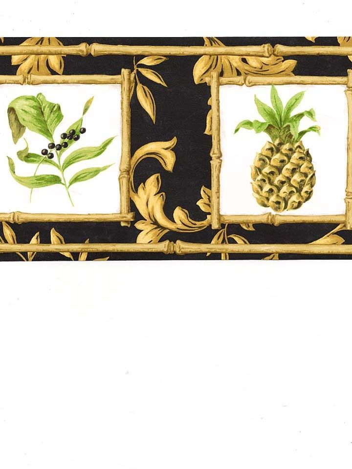 Formal Gold Scroll On Black with Pineapple Bamboo Square Wallpaper Border