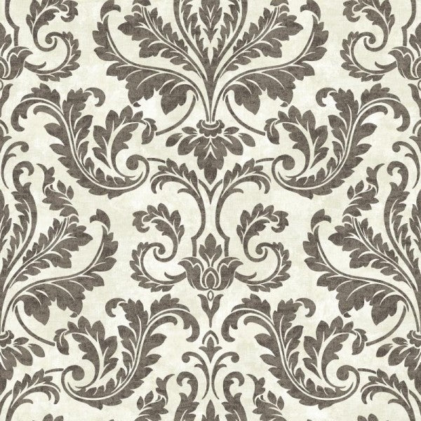 Faded Black Damask on Faux Linen Taupe Background Unpasted Wallpaper