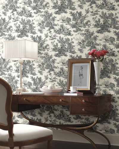 Black and White Colonial Toile on Sure Strip Wallpaper - all4wallswall-paper