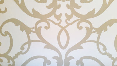 Large Formal Scroll Tan on Soft White Background Wallpaper - all4wallswall-paper