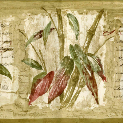 Bamboo & Leaf with Writing Wallpaper Border - all4wallswall-paper