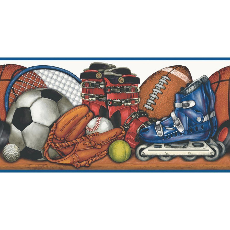 Sports Balls and Equipment on a Shelf Wallpaper Border - all4wallswall-paper